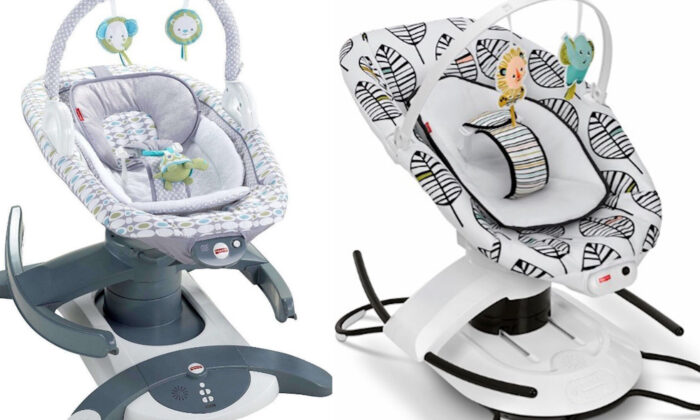 Rock 'n Glide Soothers (L) and 2-in-1 Soothe 'n Play Glider (R) in a file photo. (Consumer Product Safety Commission)