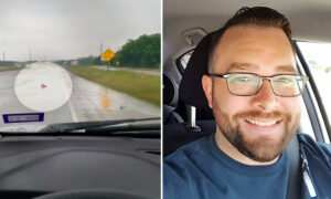 Video Shows Marine Veteran Rescuing Fallen American Flag on the Highway on Memorial Day