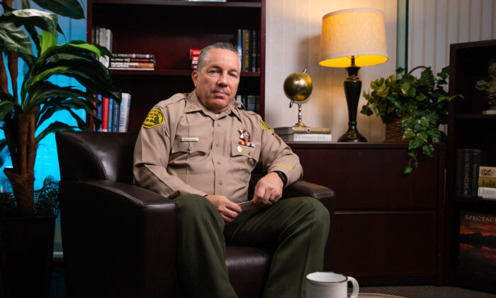"""Los Angeles County Sheriff Alex Villanueva sits for an interview for The Epoch Times program """"California Insider,"""" in Irvine, Calif., on May 27, 2021. (John Fredricks/The Epoch Times)"""