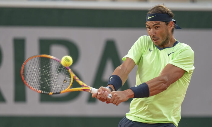 Rafael Nadal (ESP) in action during his match against Richard Gasquet (FRA) on day five of the French Open at Stade Roland Garro in Paris, France, on Jun 3, 2021. (Susan Mullane-USA TODAY Sports)