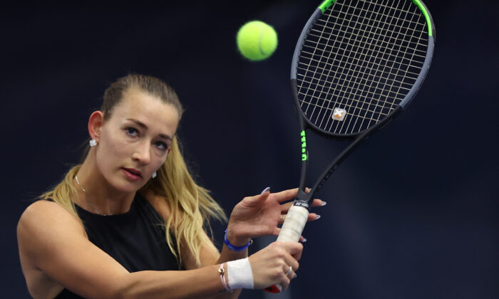 Russian Yana Sizikova poses for a photo during the Winter Moscow Open 2021 tennis tournament in Moscow, Russia, on Feb. 24, 2021. (Alexander Bondarev/AP Photo)