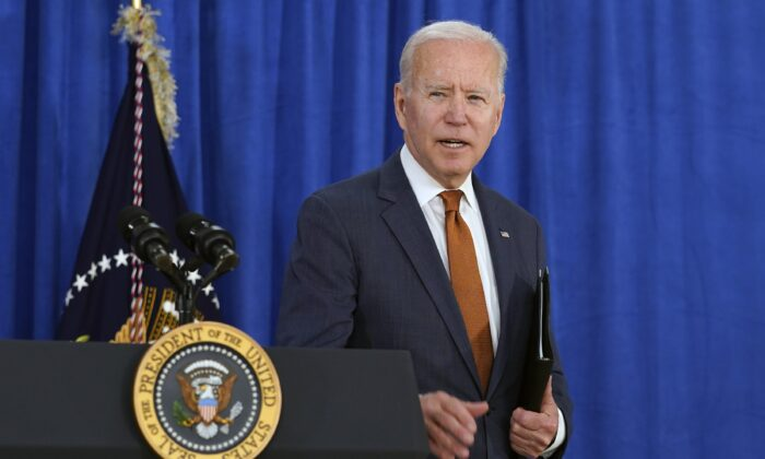 President Joe Biden walks away after talking about the May jobs report from the Rehoboth Beach Convention Center in Rehoboth Beach, Del., on June 4, 2021. (Susan Walsh/AP Photo)