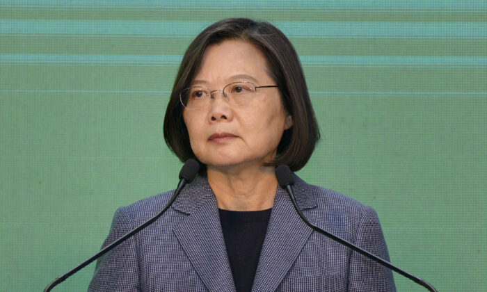 Taiwan's President Tsai Ing-wen attends a press conference in Taipei where she declared victory in the general election in Taipei, Taiwan, on Jan. 11, 2020. (Chris Stowers/AFP via Getty Images)