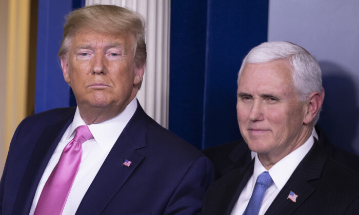 U.S. President Donald Trump looks on after a news conference with Vice President Mike Pence in the Brady Press Briefing Room at the White House in Washington on Feb. 26, 2020. (Tasos Katopodis/Getty Images)