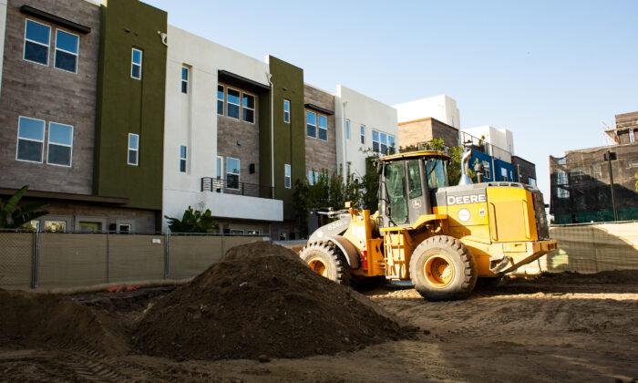 A construction site in Anaheim, Calif., on Jan. 8, 2021. (John Fredricks/The Epoch Times)