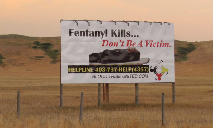 A billboard warns about the dangers of fentanyl in southern Alberta on April 27, 2018. (Bill Graveland/The Canadian Press)