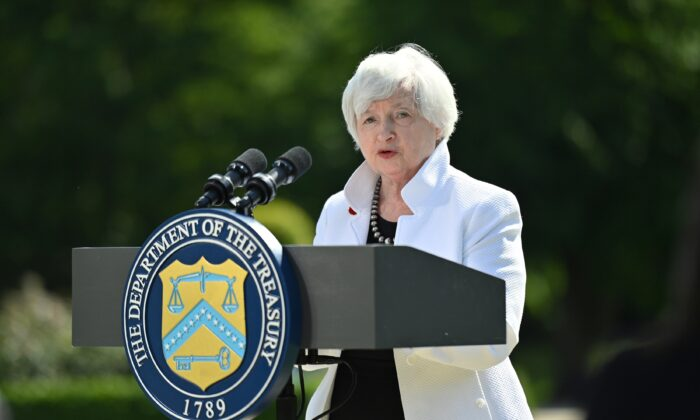 U.S. Treasury Secretary Janet Yellen speaks during a news conference, after attending the G7 finance ministers meeting, at Winfield House in London, Britain, on June 5, 2021. (Justin Tallis/Pool via Reuters)