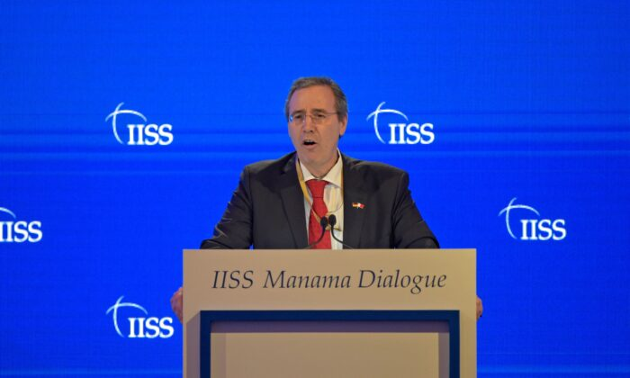German Federal Foreign Office State Secretary Miguel Berger addresses the Manama Dialogue security conference in the Bahraini capital, on Dec. 5, 2020. (Mazen Mahdi/AFP via Getty Images)