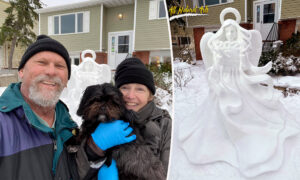 2 Talented Sculptors Craft Life-Size 'Angel of Hope' Snow Sculpture, Touching Hearts
