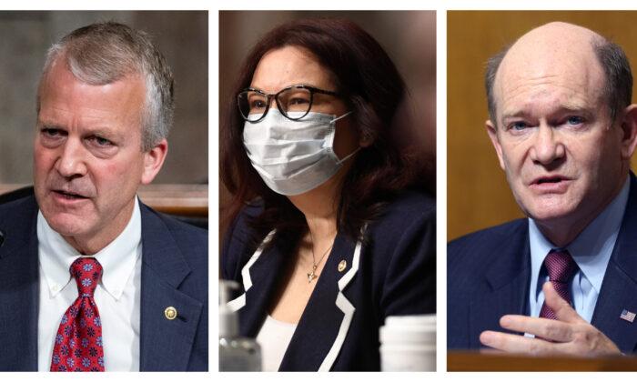 (L-R) Sens. Dan Sullivan (R-Ark.), Tammy Duckworth (D-Ill.),  Christopher Coons (D-Del.) in file photos. (Al Drago/File/Pool via Reuters); (Kevin Dietsch/File/Pool via Reuters); (Tasos Katopodis/File/Pool via Reuters)