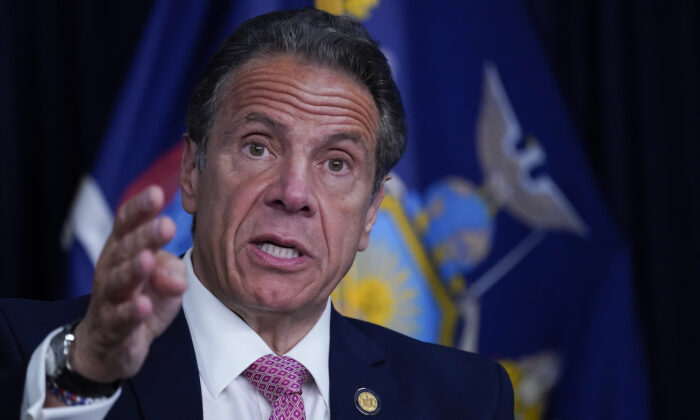 New York Gov. Andrew Cuomo speaks during a news conference in New York City, on May 10, 2021. (Mary Altaffer-Pool/Getty Images)