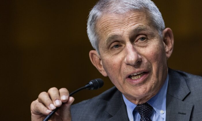 Dr. Anthony Fauci, director of the National Institute of Allergy and Infectious Diseases, speaks during a hearing on Capitol Hill in Washington on May 11, 2021. (Jim Lo Scalzo/Pool via AP)