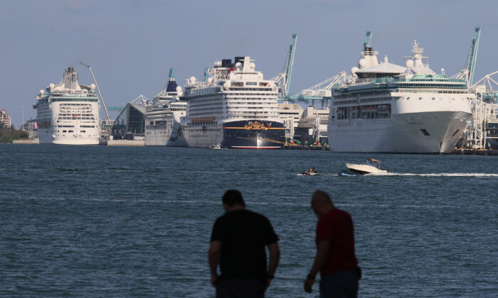 Cruise ships dock at PortMiami as the cruise line industry waits to begin operations again, in Miami on May 26, 2021. (Joe Raedle/Getty Images)