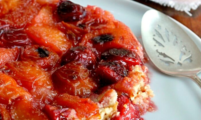 The sweet tang of nectarines and plums melds beautifully with the caramel topping of this beautifully messy treat. (Lynda Balslev for Tastefood)