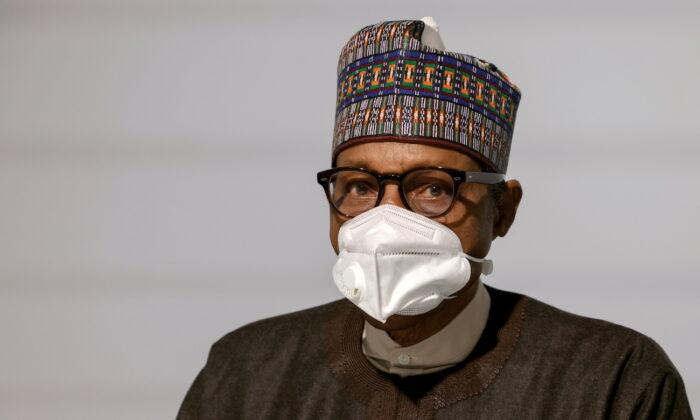 Nigeria's President Muhammadu Buhari in Paris, France, on May 18, 2021. (Ludovic Marin/Pool via Reuters)