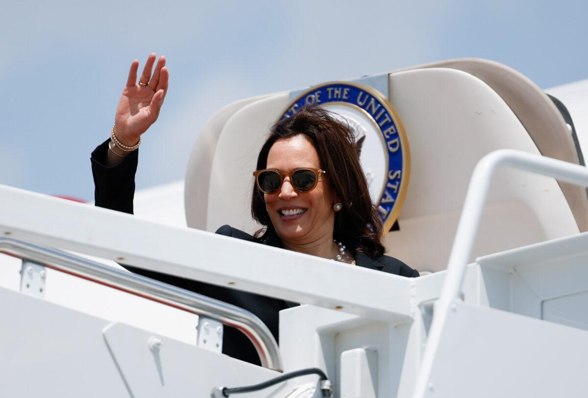 Kamala Harris waves