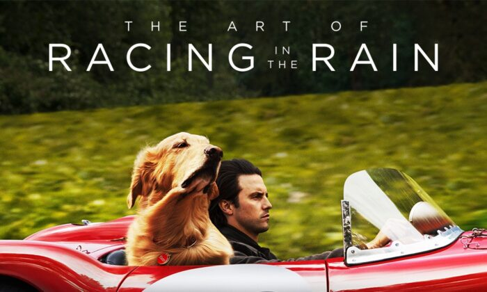 """Milo Ventimiglia as Denny and Butler as Enzo in the poster for """"The Art of Racing in the Rain."""" (20th Century Fox)"""