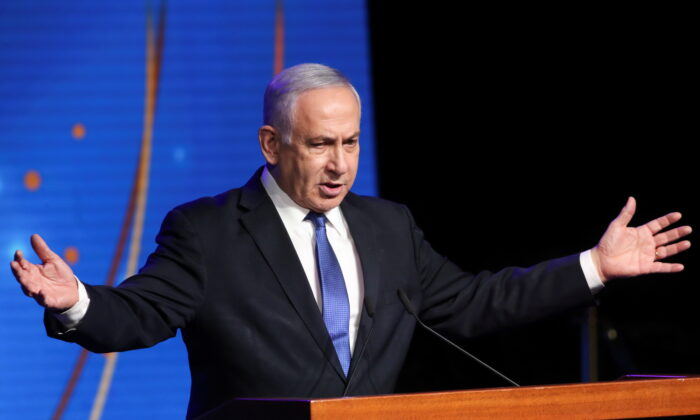 Israeli Prime Minister Benjamin Netanyahu speaks during a ceremony to show appreciation to the health sector for their contribution to the fight against COVID-19 in Jerusalem, Israel, on June 6, 2021. (Ronen Zvulun/Reuters)