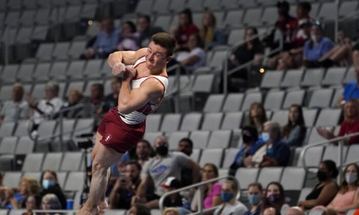 Brody Malone competes in the vault during the U.S. Gymnastics Championships, in Fort Worth, Texas, on June 5, 2021. (Tony Gutierrez/AP Photo)