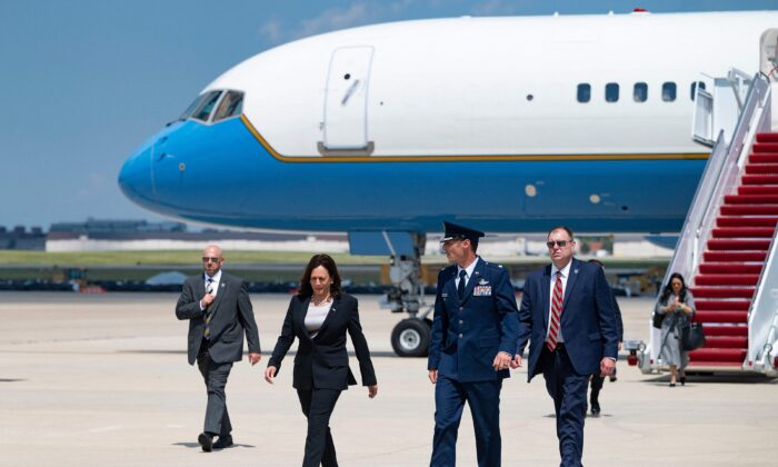 Vice President Kamala Harris walks off Air Force Two at Andrews Air Force Base, Md., on June 6, 2021. (Jim Watson/AFP via Getty Images)