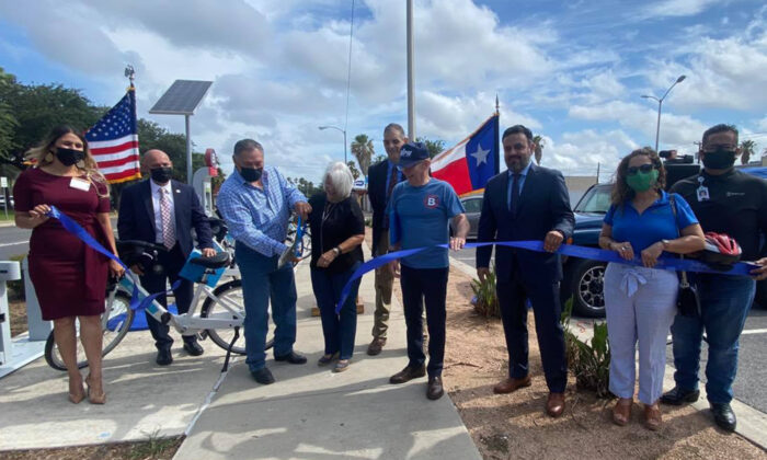Javier Villalobos, third from the left, in a local event on May 21, 2021. (Courtesy of the City of McAllen)