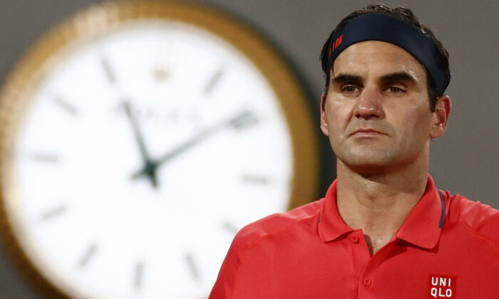 Switzerland's Roger Federer during his third round match against Germany's Dominik Koepfer, on Day 7 of The Roland Garros 2021 French Open tennis tournament in Paris, France, on June 5, 2021. (Christian Hartmann/Reuters)