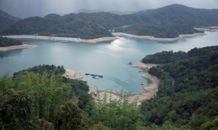 Sun Moon Lake with low water levels during an island-wide drought, in Nantou, Taiwan, on May 15, 2021. (Annabelle Chih/File Photo/Reuters)