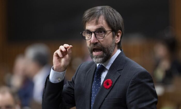 Minister of Canadian Heritage Steven Guilbeault speaks during question period in the House of Commons in Ottawa, on November 3, 2020. (The Canadian Press/Adrian Wyld)