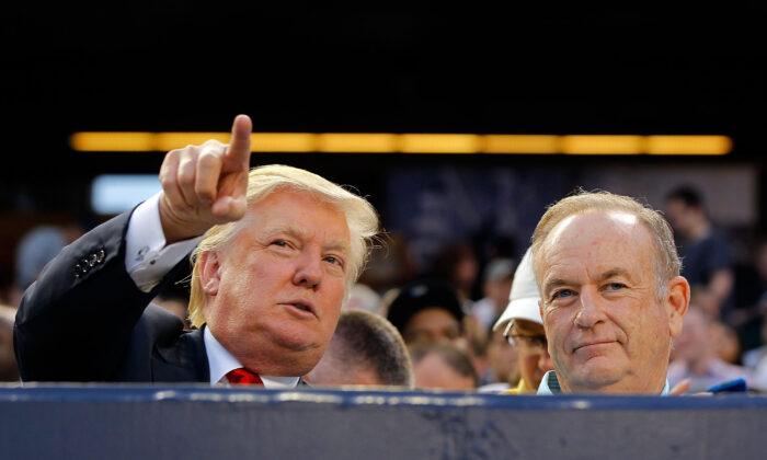 Donald Trump (L) and television personality Bill O'Reilly attend the game between the New York Yankees and the Baltimore Orioles at Yankee Stadium in the Bronx borough of New York City on July 30, 2012.  (Jim McIsaac/Getty Images)