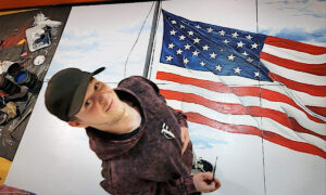 Artist Paints Huge American Flag for High School Gym so Classmates Can Say Pledge