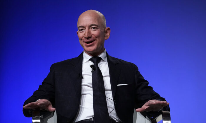 Amazon CEO Jeff Bezos, founder of space venture Blue Origin and owner of The Washington Post, participates in an event hosted by the Air Force Association in National Harbor, Md., on Sept. 19, 2018.  (Alex Wong/Getty Images)