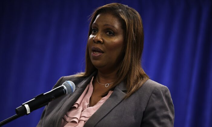 New York Attorney General Letitia James speaks during a press conference in Manhattan in New York City on May 21, 2021. (Michael M. Santiago/Getty Images)
