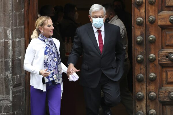 Mexican President Andres Manuel Lopez Obrador and wife