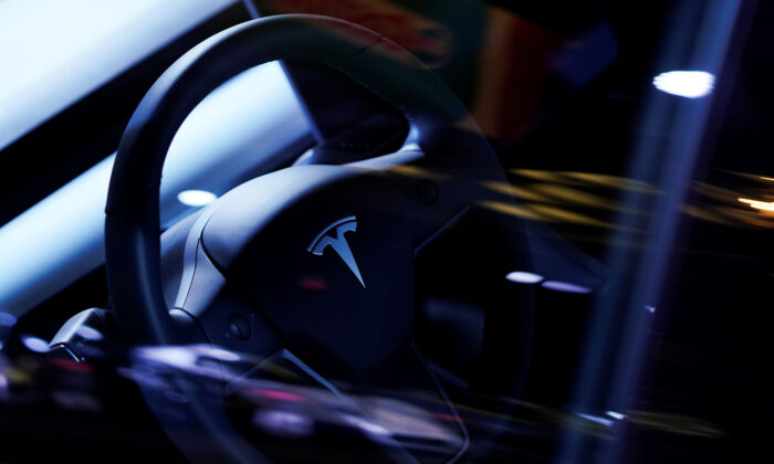A Tesla Model S steering wheel is on display at the Canadian International AutoShow in Toronto, Ontario, Canada, on Feb. 13, 2019. (Mark Blinch/Reuters)