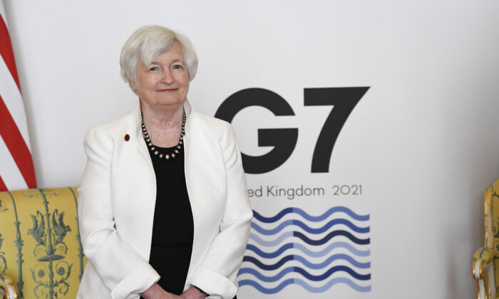 U.S. Treasury Secretary Janet Yellen attends G7 finance ministers meeting at Lancaster House in London on June 5, 2021. (Alberto Pezzali/WPA Pool/Getty Images)
