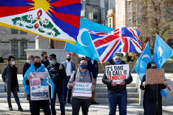 Demonstrators against Uyghur genocide