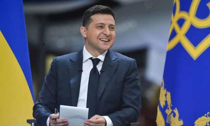 Ukrainian President Volodymyr Zelensky holds a press conference at the Antonov aircraft manufacturing plant in Kiev on May 20, 2021. (Sergei Supinsky/AFP via Getty Images)