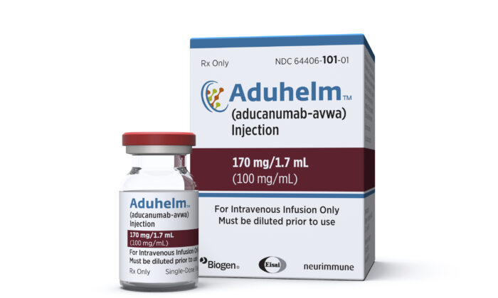 A vial and packaging for the drug Aduhelm is shown on June 7, 2021. (Biogen via AP)