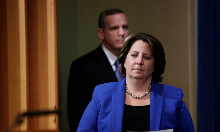 Deputy Attorney General Lisa Monaco is followed by FBI Deputy Director Paul Abbate as she arrives to speak about the Colonial Pipeline ransomware attacks during a news conference at the Justice Department in Washington on June 7, 2021. (Jonathan Ernst/Pool/Reuters)