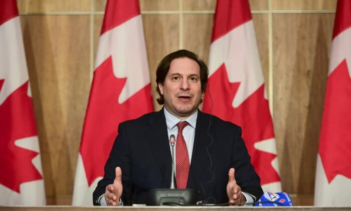 Marco Mendicino, Minister of Immigration, Refugees and Citizenship, announces measures of support to in-Canada families of victims of Ethiopian Airlines Flight 302 and Ukraine International Airlines Flight 752 during a press conference in Ottawa on May 13, 2021. (The Canadian Press/Sean Kilpatrick)