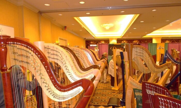 Harps for sale in the exhibition hall of the 41st National Conference of the American Harp Society in New Orleans. (Courtesy of Michael Kurek)
