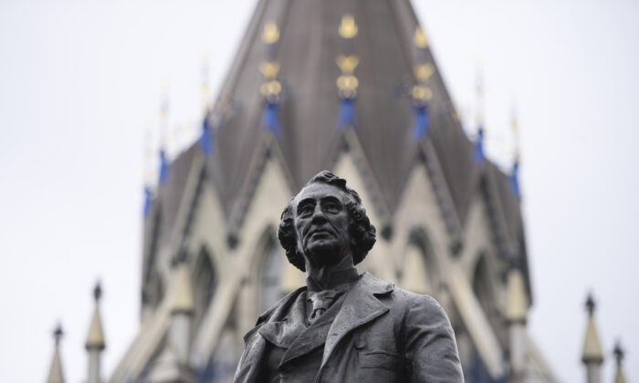 A statue of former Canadian Prime Minister Sir John A. Macdonald on Parliament Hill in Ottawa, Canada, on June 3, 2021. (The Canadian Press/Sean Kilpatrick