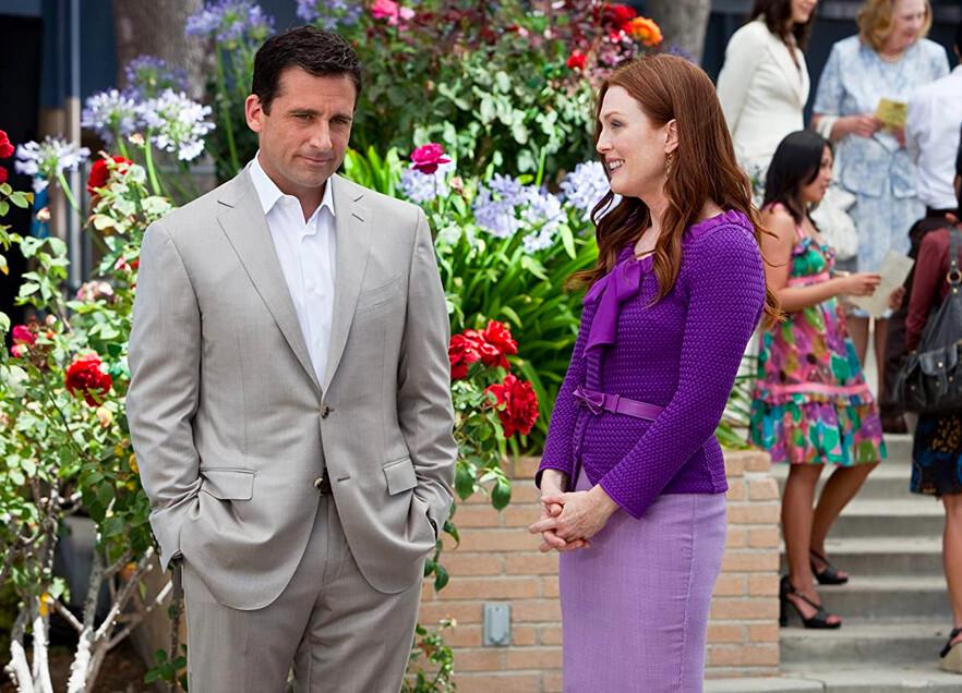 man in grey suit woman in purple dress in Crazy Stupid Love