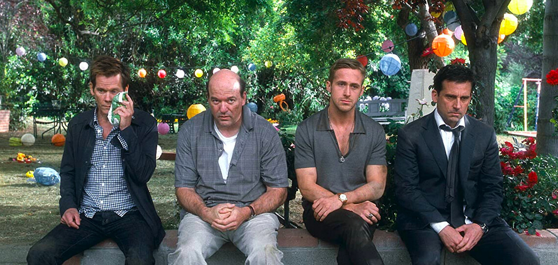 four men in a yard in Crazy Stupid Love