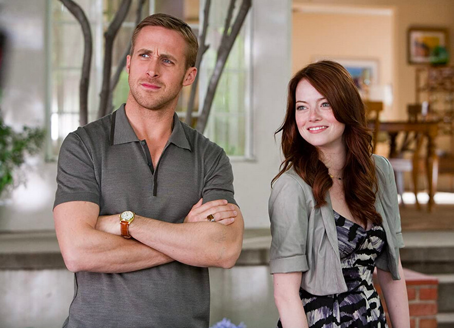 man and woman in grey clothes in Crazy Stupid Love