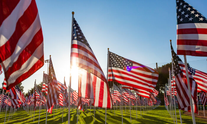 Flags on display at the 2020 Orange Field of Valor, in Handy Park in Orange, Calif., on Nov. 9, 2020. (John Fredricks/The Epoch Times)