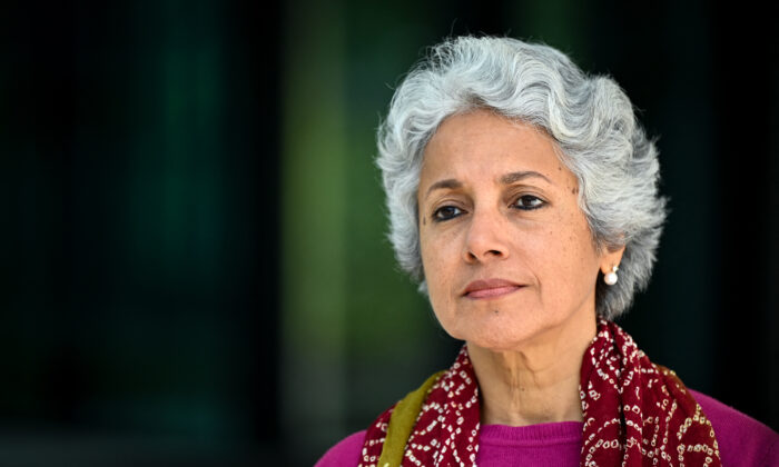 The World Health Organization's Chief Scientist Soumya Swaminathan looks on during an interview with AFP in Geneva, Switzerland, on May 8, 2021. (Fabrice Coffrini/AFP via Getty Images)