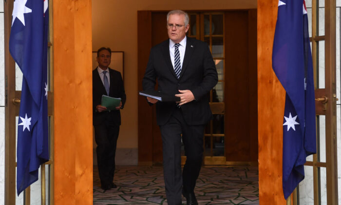 Prime Minister Scott Morrison arrives for a press conference in the Prime Minister's Courtyard at Parliament House on June 4, 2021, in Canberra, Australia. (Sam Mooy/Getty Images)