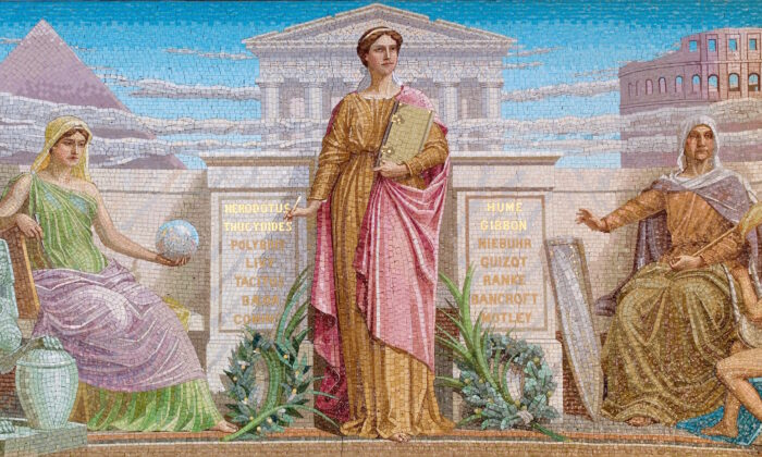 This mosaic by Frederick Dielman shows History in the center, holding a pen and a book. The figure on the left, holding a globe, is Mythology; the figure on the left represents medieval legends and folk tales. House Members Room, Library of Congress Thomas Jefferson Building, Washington. (Public domain)