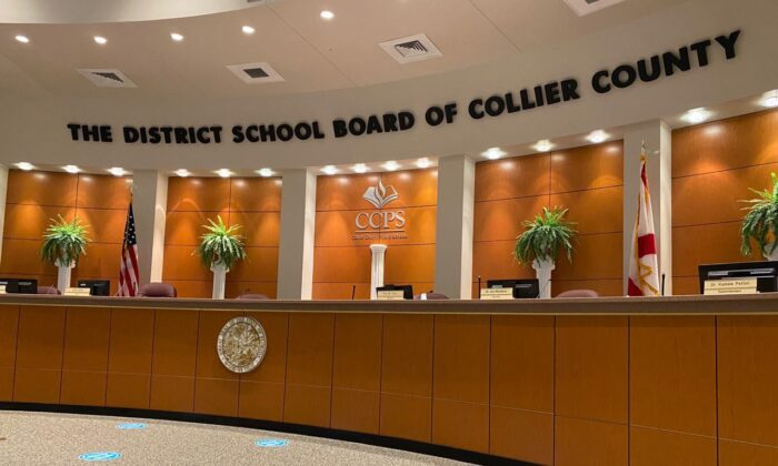 Awaiting the members of the Collier County School Board to convene the hearing regarding textbooks being considered for adoption for use in the district's classrooms, on May 7, 2021. (Patricia Tolson/The Epoch Times)